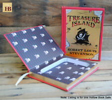 Hollow Book Safe - Treasure Island - Red Leather Bound Book Safe