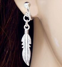 Silver Feather Long Dangle Clip On Earrings Crystal Non Pierce Leaf UK Shop E157