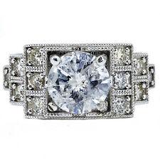 1.98 Carat Round Cut Diamond Engagement Ring 14k white gold Natural & Certified