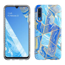 Galaxy A50 Case,Slim Fit Clear Bumper Soft TPU Protective Cover Marble Blue