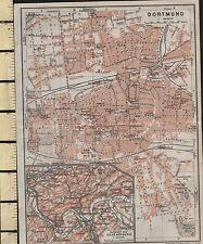 1925 GERMAN MAP ~ DORTMUND ~ MUSEUM SCHOOLS CHURCHES etc INSET HOHENSYBURG