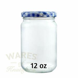 Glass Jam Jars, 12oz (314ml), Pack 36, Blue Check Lids, Jam, Preserves, New *