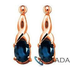 Natural Sapphire 9ct 9k Solid Rose Gold Drop Earrings R53810/SLG