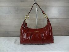 Coach F20452 Ashley Madison Crimson Patent Leather Hobo Shoulder Bag Tote