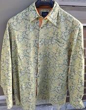 INDIGO PALMS Mens Button Up Casual Floral Multi Color Flip cuff Shirt Size Large