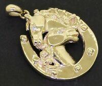 Heavy 18K yellow gold elegant .04CT diamond horse pendant