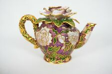 RARE VTG Cloisonne Ornate Gold Enamel Floral Mini Teapot LOT OF 4