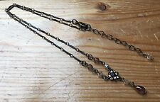Dainty Antique Look Gold Rhinestone Flower Necklace/Glass/Y Shaped/Occasion