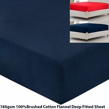 """Luxury Heavy 180gsm 100% Brushed Cotton Flannelette 16"""" Deep Fitted Bottom Sheet"""