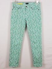 J. CREW Toothpick Stretch Floral green white and purple jeans size 0-2 waist 25
