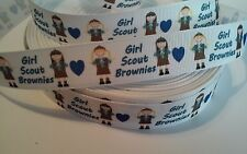 "Girl Brownie inspired 7/8"" Grosgrain Ribbon - By The Yard - USA Seller"