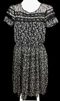 DOTTI Black White Lace Floral Short Sleeve Pleated Hi-Lo Dress Size 8