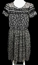 DOTTI Black White Lace Floral Short Sleeve Pleated Hi-Lo Dress Size 8