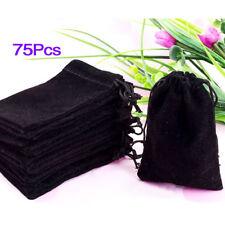 75X Black Velvet Drawstring Jewelry Gift Bags Pouches HOT Q7C6