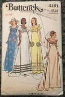 Vintage 1970s Sewing Pattern Wedding Dress Bridesmaid Dress Butterick 3491 Sz 12