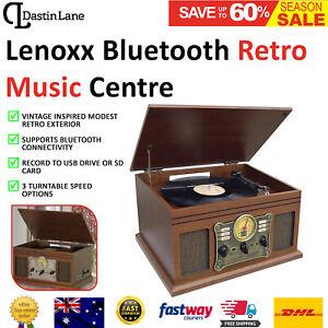 Turntable Vinyl Radio Record Player Vintage CD USB Bluetooth Stereo Casette AMFM