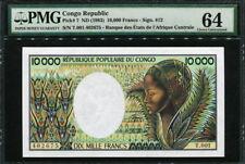 Congo Republic 1983, 10000 Francs, T001-402675, P7, PMG 64 UNC