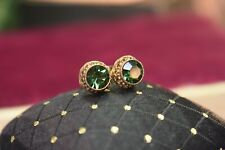 Estate antique gold filled green tourmaline paste post earrings with 14K backs