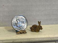 Vintage Artisan Tiny Metal Bunny Rabbit Hand Painted Dollhouse Miniature 1:12
