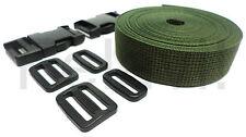 Correa (PP) 25mm / 5 m-roll + 2 Conector hebillas/Corredero/Bucles Verde oliva