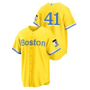 Men's Boston Red Sox Chris Sale #41 Gold Light Blue Replica 2021 Jersey