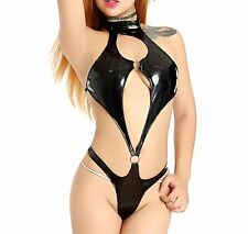 ENUOLADY Womens Sexy Teddy Lingerie Black Faux Leather Wet Look One Piece