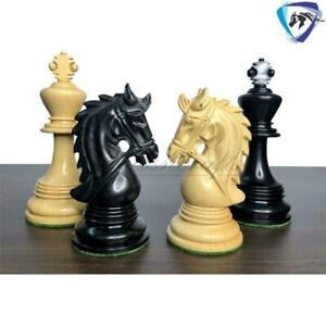 """4.5"""" Ebony Wood Staunton Chess Pieces Set HADRIAN Series 4 Queens & Weighted"""