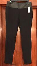 "PER SE By CARLISLE $325 Tapered Black Pants Sz US 2 UK 4 Faux Leather Waist 29""L"