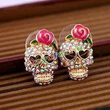 Fashion Cool Betsey Johnson Pink Rose Skeleton Skull Stud Earrings Gift Party
