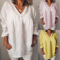 ZANZEA 8-24 Women Long Sleeve Pullover V Neck Plain Basic Top Tee T Shirt Blouse