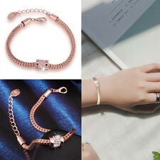 Fashion Women's Rhinestone Rose Gold Plated Crystal Bracelet Bangle Jewelry Gift