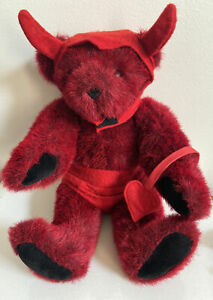 "Vintage Vermont Teddy Bear Plush Valentine Devil Red fur Bear 16"""