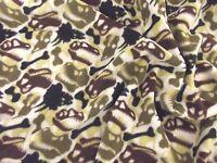 QUALITY Printed Anti Pil Polar Fleece Fabric Material - BROWN DINOSAUR