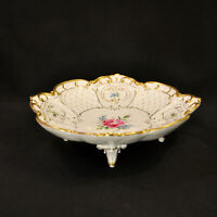 Von Schierholz Center Bowl 4 Footed Multicolor Floral Gold on White 1914-1930's