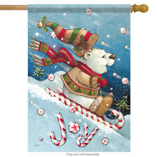 "Joy Ride Christmas House Flag Polar Bear Candy Cane Sled 28"" x 40"" Carson"