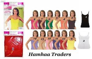 Ladies Girls Women 100% Cotton Pastel Daisy Trim Strappy Vest Top Tank Size 8-20