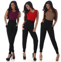Overall tuta intera donna jumpsuit bicolore tutina pantaloni clubwear sexy