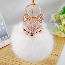 Cute Women Fox Fur Ball Artificial Fox Head Rhinestone Key Chain Creative Gifts
