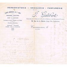 GALIBERT rue de la Mairie à Carcassonne FACTURE Herboriste Droguerie Parfumerie