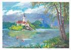 original painting A3 255MA art samovar modern gouache landscape castle