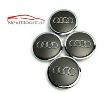 4 Gray Chrome Wheel Rim Center Replacement Hub Caps For Audi 69mm 4b0601170a