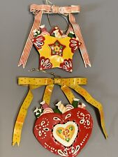 Mary Engelbreit Kurt Adler Metal Tin Heart Ornaments Me Ink Set of 2
