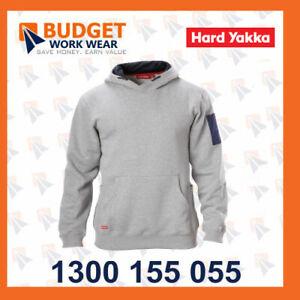 Hard Yakka Brushed Fleece Hoodie (Y19326) in Black, Grey Marl, Navy