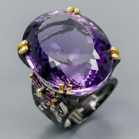 Vintage70ct+ Natural Amethyst 925 Sterling Silver Ring Size 9/R120679