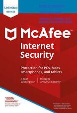MCAFEE INTERNET SECURITY 2020 DISPOSITIVI ILLIMITATI,  INVIO EMAIL LICENZA ORIG