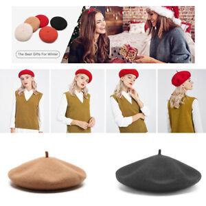 Women | Girls Plain Beret Hat Wool Autumn Hats French Beret Winter Cute