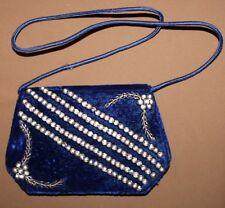 VINTAGE LADIES VELOUR HAND BAG PURSE WITH TINSEL DECORATION
