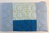 "Handmade Quilted Bag Clutch 9 1/2"" X 6 1/2"" Zipper Blue & White"