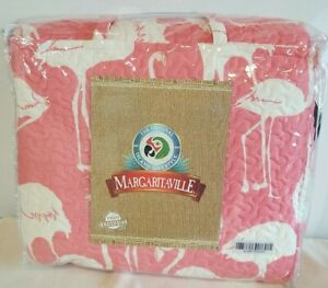 Margaritaville HSN Exclusive 3pc Pink Flamingo Quilt Set With Tote Bag