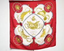 HERMES FOULARD SPRINGS hermès 100% soie twill designer foulard rouge Ledoux étiquette d'entretien